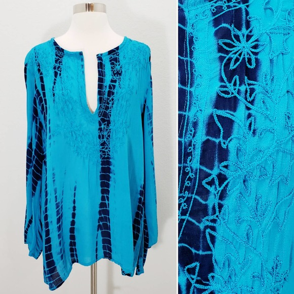 Chico's Tie Dye Tunic Embroidered V-Neck Large